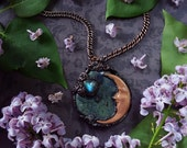 Crescent Moon Crystal Necklace - Reserved for Moriah - Gaias Dreamland - Kambaba Jasper with Labradorite - Crystal Moon Pendant Necklace
