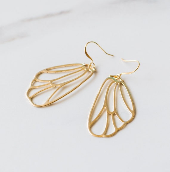 Butterfly wing earrings, Gold, Pendant, fairy, Bridesmaid, gift, charm, nature inspired, leaf, jewelry,  Handmade in Santa Cruz