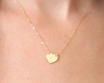 Gold Heart Necklace..  Initial Jewelry .. Heart Necklace .. Personalized Initial Necklace ..Gold Filled .. Sterling Silver . Custom Jewelry