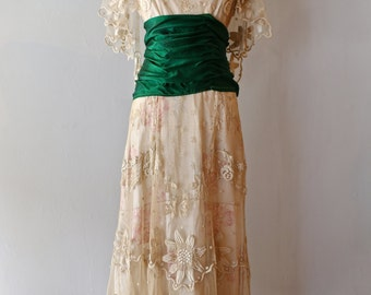RESERVED Exquisite Edwardian Era Wedding Gown ~ Vintage Antique Embroidered Net Dress With Emerald Green Sash
