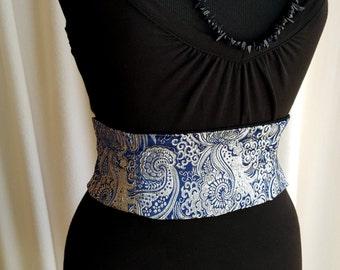 Silver and Blue Brocade Mini Corset Obi  - Sash Waist Cincher Belt