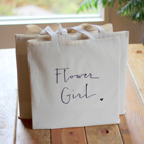 Gift Bag for Flower Girl Tote Bag Handwritten Bridal Party