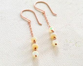 Sea Salt Earrings - opal earrings, opal dangle earrings, rose gold opal earrings, organic fire opal, handmade opal jewelry