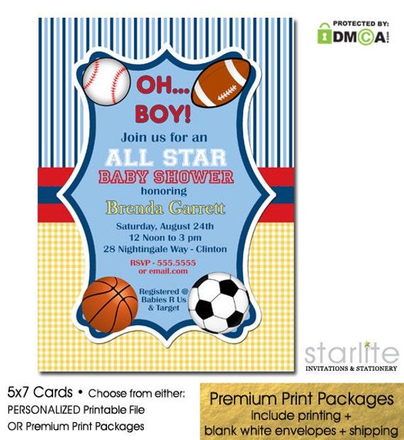 Sports Baby Shower Invitation Boy Baby Shower Invitation All
