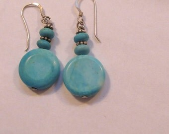 Sterling & Turquoise Dangling-Dangle-Drop-Round  Disk Earrings