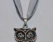 Large Owl with Rhinestone Eyes - Charm Necklace