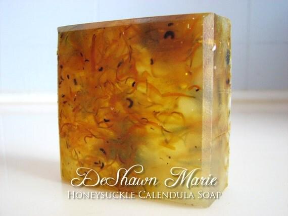 SOAP- Honeysuckle Calendula Soap- Handmade Soap - Vegan Soap - Glycerin Soap - Gift Ready- Soap Gift