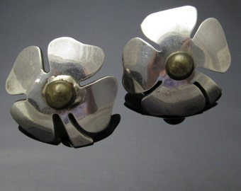 Sterling Four Leaf Clover Earrings Large Vintage Jewelry E7353