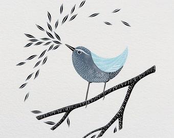 Songbird - Original 8x10 Watercolor Painting - Bird Art, Contemporary Illustration - by Natasha Newton