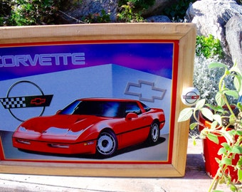 "C4 Corvette TIN SIGN wall CABINET-matching Corvette ceramic knob-2 shelves-hanging hardware and instructions included-""1-of-a-kind"""
