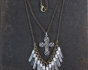 Wandering Souls No 2  - Quartz Crystal Fringe Necklace with Vintage Sterling Cross