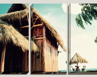 Beach, Tiki Hut, Wall Canvas Art, Surfers, Decorations, Tiki Decor, Caribbean, Giclee, Beach Decor, Nicaragua, Coastal, Office, Home Decor