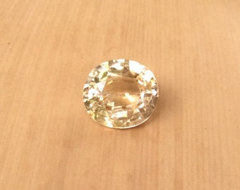 Ceylon Sapphire Loose Stone - Certified Natural Oval cut Pale Yellow Sapphire Gemstone - Unheated and Untreated - LSG183