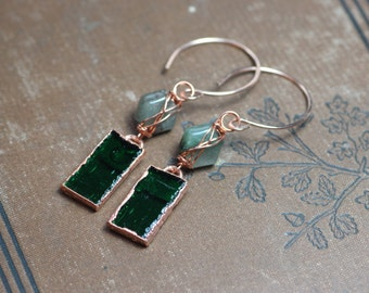 Tourmalinated Quartz Green Glass Earrings Rustic Jewelry Copper Wire Wrapped Rose Gold Hoop Earrings