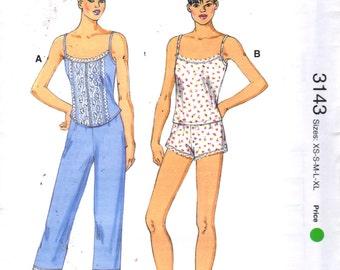 Kwik Sew 3143 Misses Pajamas Pattern Camisole Top Shorts Capri Pants Lingerie Womens  Sewing Pattern Size XS  S M L XL Bust 31 - 45 UNCUT