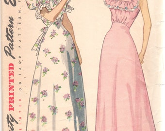 Simplicity 2681 1940s Misses Nightgown Pattern Softly Gathered High Waist Square Neck Womens Vintage Sewing Pattern Size 14 Bust 32 UNCUT