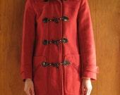 BRICK WOOL DUFFEL coat with hood, xs