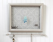"""Jewelry Holder- """"Nickel"""" Framed Jewelry Organizer- Upcycled 8x10 Picture Frame"""