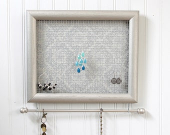 "Jewelry Holder- ""Nickel"" Framed Jewelry Organizer- Upcycled 8x10 Picture Frame"