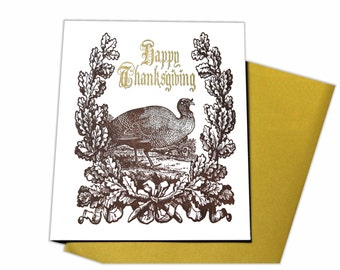Happy Thanksgiving Letterpress Card With Brown Turkey