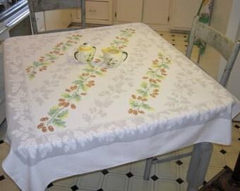 Vintage Tablecloth Acorns & Oak Leaves