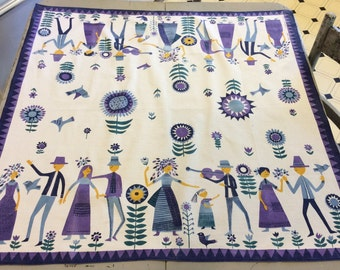 Vintage Swedish Tablecloth Mid Century Garden Party Signed
