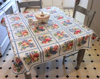 Vintage Tablecloth Colorful Fruit Squares