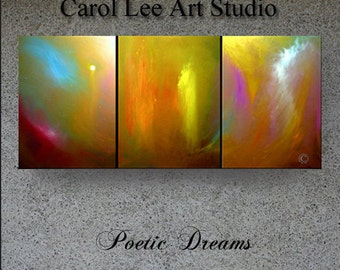 Original OIL PAINTING large contemporary modern art triptych canvas abstract wall art Poetic Dreams Carol Lee aka Leearte
