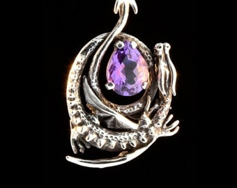 Silver Dragon Pendant Curled Dragon Necklace Amethyst Jewelry Gothic Fantasy Jewelry Sterling Silver Medieval Wyvern