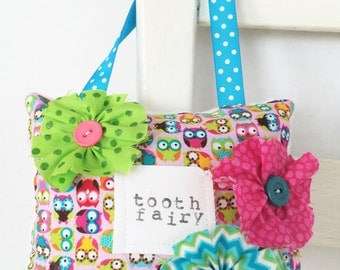 Owls Embellished Tooth Fairy Pillow Girls Birthday Gift Children Girlie Room Docor OOAK