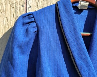 Vintage 80s 1980s New Wave Electric Blue Puff Sleeve Pinstripe Power Blazer S M