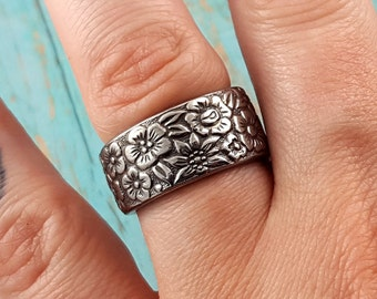 Vintage 1970's Floral Spoon Ring Stainless Steel YOUR SIZE MR0306-DAB109