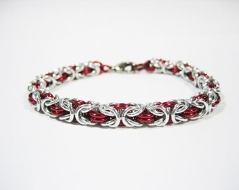 Silver & Red Byzantine Chainmaille Bracelet - Choose your size!