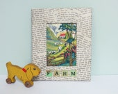 1940 Children's Primer Book Picture, Handmade Decoupage Mixed Media Art: Farm & Cows Illustration in a Word-Covered Frame