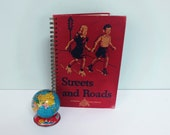 Repurposed Book Cover Journal, Streets and Roads, ©1947 Children's Reader, Wire Spiral Binding, 50 Lined Pages, Roller Skating Boy & Girl