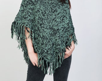 Hand Knit poncho Green/black mixed color shrug fringe capelet LMD