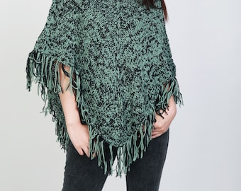 Hand Knitwoman poncho Green/black mixed color shrug fringe capelet
