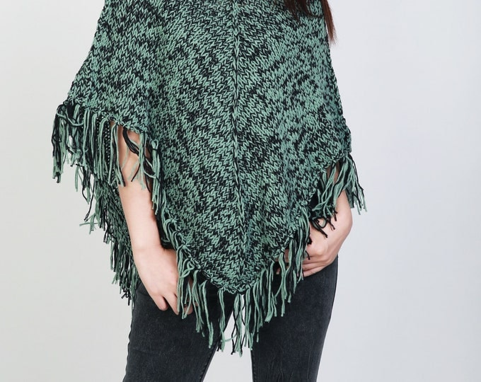 Hand Knitwoman poncho Green/black mixed color shrug fringe capelet