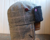 Furry Russian L: cozy winter earflap hat in grey with pink plaid wool tweed