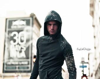 Men's Hoodie / Bleached hoodie / Hooded sweatshirt  - KMT 046