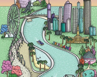Map of Brisbane - Pastel - A4 Art Print by Hungry Designs