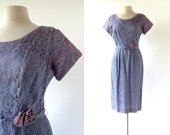 1950s Lace Dress | Purple Lace Dress | 50s Party Dress | XS S