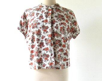 Vintage 1960s Blouse / Floral Print Blouse / 60s Top / XXL 1X