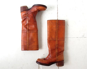 Vintage 70s Boots | Leather Boots | Campus Boots | Size 6