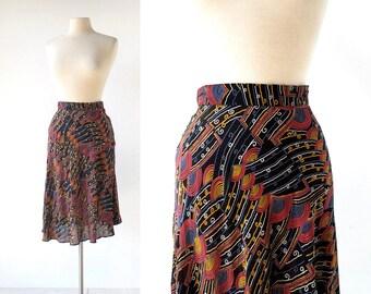 Vintage 70s Skirt / Mediterranean Sunset / Rayon Skirt / 28W