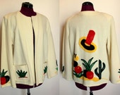 R E S E R V E D for stylehut- please do not buy - 1940s white wool La Muchacha Mexican tourist jacket with chenille applique