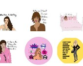 """Real housewives of RHOBH & RHOC California Combo Sheet Funny Round Glossy stickers 2"""" Diameter Sheet of 12"""