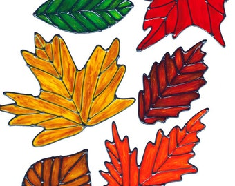 Autumn Leaves Window Cling Set (A)