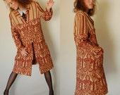 Woven Tapestry Coat Vintage 60s Bohemian Tribal Woven Cotton Draped Tapestry Coat (m l)