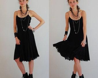 Little Black Slip Dress Vintage Black Silk Spaghetti Strap Draped Indie Boho Summer Dress (s m)